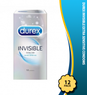 Durex Invisible Extra Thin Extra Sensitive Condoms, Pack of 12